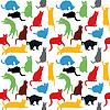 Бесшовные с красочными кошек силуэты, | Векторный клипарт