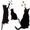 Черные кошки силуэты и красочные butterlies | Векторный клипарт