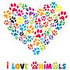 Красочные сердца с животными следы | Векторный клипарт