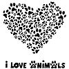 Я люблю животных карты | Векторный клипарт
