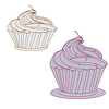 Векторный клипарт: кремовый торт с розовой вишни