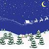Векторный клипарт: Рождественская открытка с синим фоном на Санта-Клауса