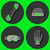 Векторный клипарт: набор Зимние виды плоские иконки