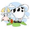 Kuh auf der Wiese mit Blumen | Stock Vektrografik