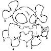 Векторный клипарт: череп с воздушного шара в зубах