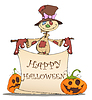Векторный клипарт: Смешные пугало, тыквы и Хэллоуин