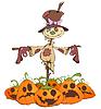 Векторный клипарт: Забавный пугало и злые тыквы
