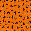 Векторный клипарт: Бесшовные черный и оранжевый Хэллоуин фон