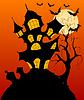 Векторный клипарт: Хэллоуин фон с жуткий дом с привидениями