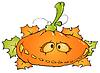 Векторный клипарт: веселые тыквы и листья клена
