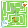 Векторный клипарт: Игра для детей с Зайцем и морковь