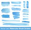 Zestaw niebieski akwarela pędzla skoku | Stock Vector Graphics