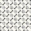 Vektor Cliparts: Nahtlose Tier Muster von Pfote Fußabdruck und Knochen