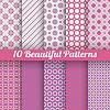 10 Piękne bez szwu desenie. Różowy, fioletowy | Stock Vector Graphics