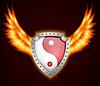 Векторный клипарт: Щит с символом Инь-Ян