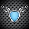 Щит с металлическими крыльями | Векторный клипарт