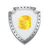 Векторный клипарт: Стек золотых монет с щитом. Безопасный ваши деньги