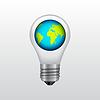 Векторный клипарт: Значок Ligthbulb с планеты