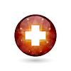 Векторный клипарт: Сфера с медицинской креста. Современный многоугольной