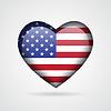 Векторный клипарт: Глянцевая сердце с американским флагом