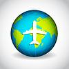 Самолет на земном шаре | Векторный клипарт