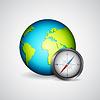Векторный клипарт: Планета с компасом