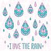 Herbst-Grußkarte Ich liebe regen