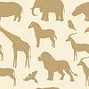 Nahtlose Muster mit afrikanischen Tier-Silhouetten