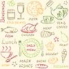 Nahtlose Muster mit doodle Menüelemente