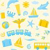 Бесшовные с иконами путешествий | Векторный клипарт