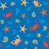 Nahtlose Muster mit Krabben und Muscheln