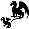 Erwachsener und Baby-Drachen Silhouetten