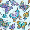Векторный клипарт: Бесшовные с кружевными бабочками и листья