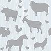 Векторный клипарт: Бесшовные с сельскохозяйственными животными силуэты