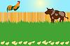 Dorf Kartenkonzept mit Hahn und Kuh | Stock Vektrografik