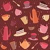Nahtloses Muster mit Tee und Kaffee Artikel