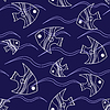 Векторный клипарт: рыба и волны бесшовных