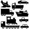 Векторный клипарт: Установите 1 различных транспортных силуэты
