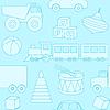 Векторный клипарт: Синий бесшовные шаблон с игрушками силуэты