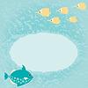 Векторный клипарт: Blue Marine карта с рыбой