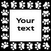Katze oder Hund Pfote druckt Rahmen für Ihren Text Hintergrund