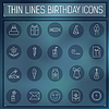 dünne Linie Happy Birthday icons set Konzept auf