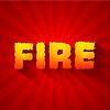 Feuer Text auf rotem Hintergrund Konzept. Design