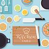 Flachküchentisch zum Kochen im Haus desi