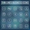 dünne Linie Business set icons Konzept. . Farbe
