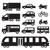 Flachwagen-Konzept Set Icon Piktogramm Design. Tampla