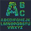 Brand Set font Alphabet Text auf rotem Hintergrund