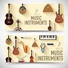 Плоские музыкальные инструменты баннеры концепцию. | Векторный клипарт