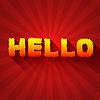 Feuer hallo Text auf rotem Hintergrund Konzept. Design