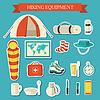 Wohnung bunten Touristenausrüstung Infografik. Icons